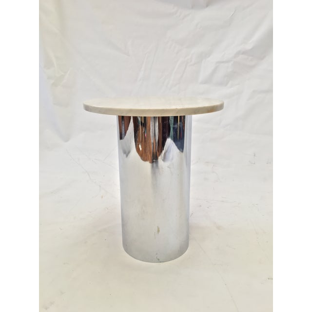 Image of Marble and Chrome Side Table