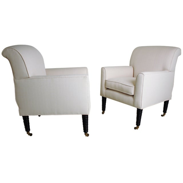 Ralph Lauren White Club Chairs - A Pair - Image 1 of 5
