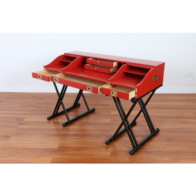 Red Hollywood Regency Campaign Executive Desk - Image 6 of 6