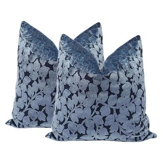 "20"" Prussian Blue Leaf Cut Velvet Pillows - a Pair"
