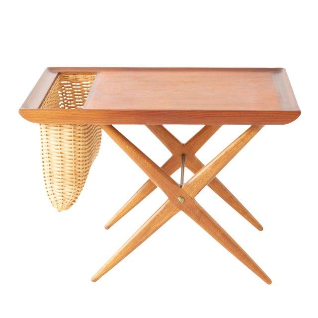 Teak Walnut MCM Side Table Woven Magazine Basket - Image 1 of 11