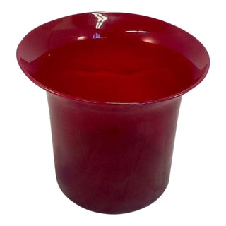 Vintage Blown Cranberry Glass Ice Bucket