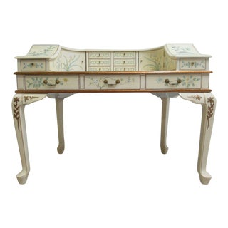 Vintage Chinoiserie White Lacquered Demi Lune Ladies' Writing Desk