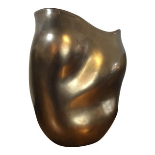 Bronze & Red Sculptured Vase