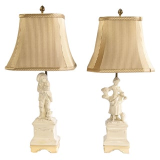 Porcelain Ivory Colored Table Lamps - A Pair