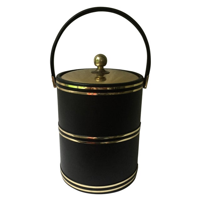 Faux Leather & Gold Ice Bucket - Image 1 of 5