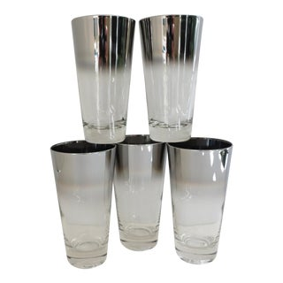 Vintage Silver Ombre Highball Glasses - Set of 5