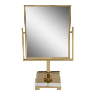 Polished Brass and Acrylic Vanity Mirror by Charles Hollis Jones