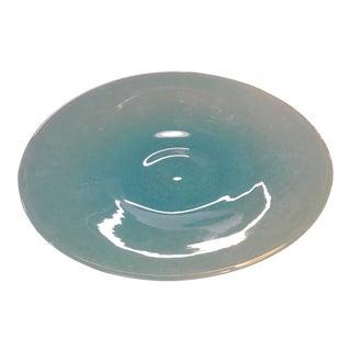 Vintage Blue Glass Round Platter