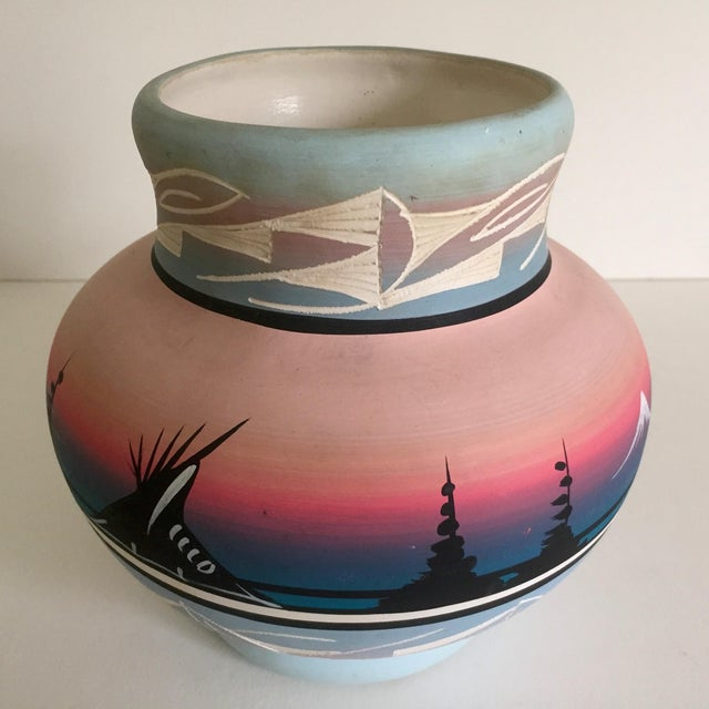 Vintage Signed Navajo Native American Pink Mesa Sunset Hand Painted Pottery Vase - Image 8 of 11