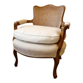 Cane Club Chair with New Upholstery