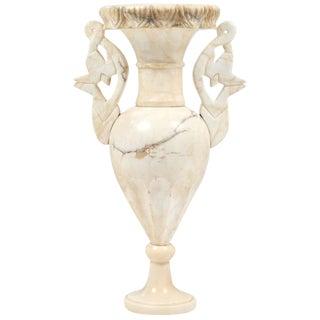 Vintage Alabaster Carved Urn Lamp