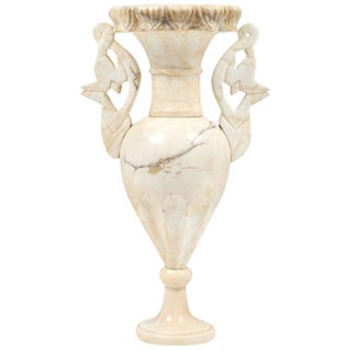 Vintage Alabaster Carved Urn Lamp