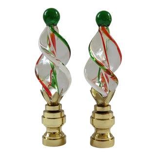 Kelly Green & Orange Art Glass Twist Finials - a Pair