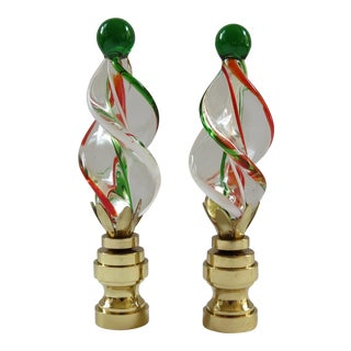 Kelly Green & Orange Art Glass Twist Finials - a Pair