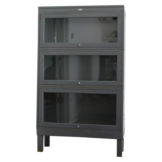 Metal 3 Shelf Barrister Bookcase Cabinet Chairish