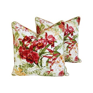 Custom Tropical Orchid Barkcloth Pillows - a Pair