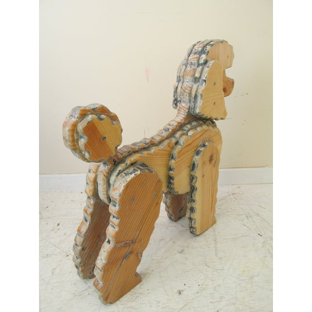 Life Size Wooden Poodle Sculpture - Image 5 of 7