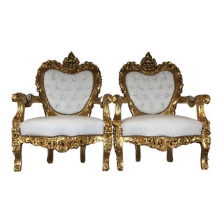 White Leather Tufted Throne Chairs - A Pair