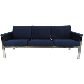 Samsonite Mid-Century Chrome & Wool Sofa