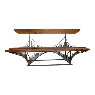 Handmade Iron Sculptural Bridge Bench
