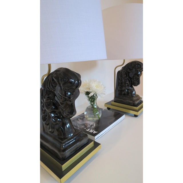 Image of Mid- Century Ceramic and Brass Horsehead Lamps - A Pair