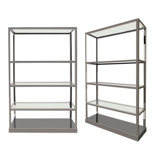 Modern Chrome & Glass Etagere Shelf, Circa 1980-2000