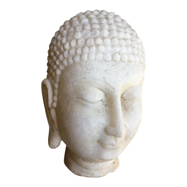 Hand Chiseled Marble Head of Buddha Statue - Image 1 of 6