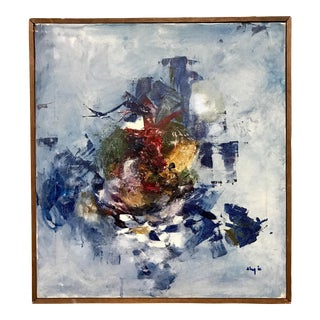 1966 Mid-Century Abstract on Canvas Painting