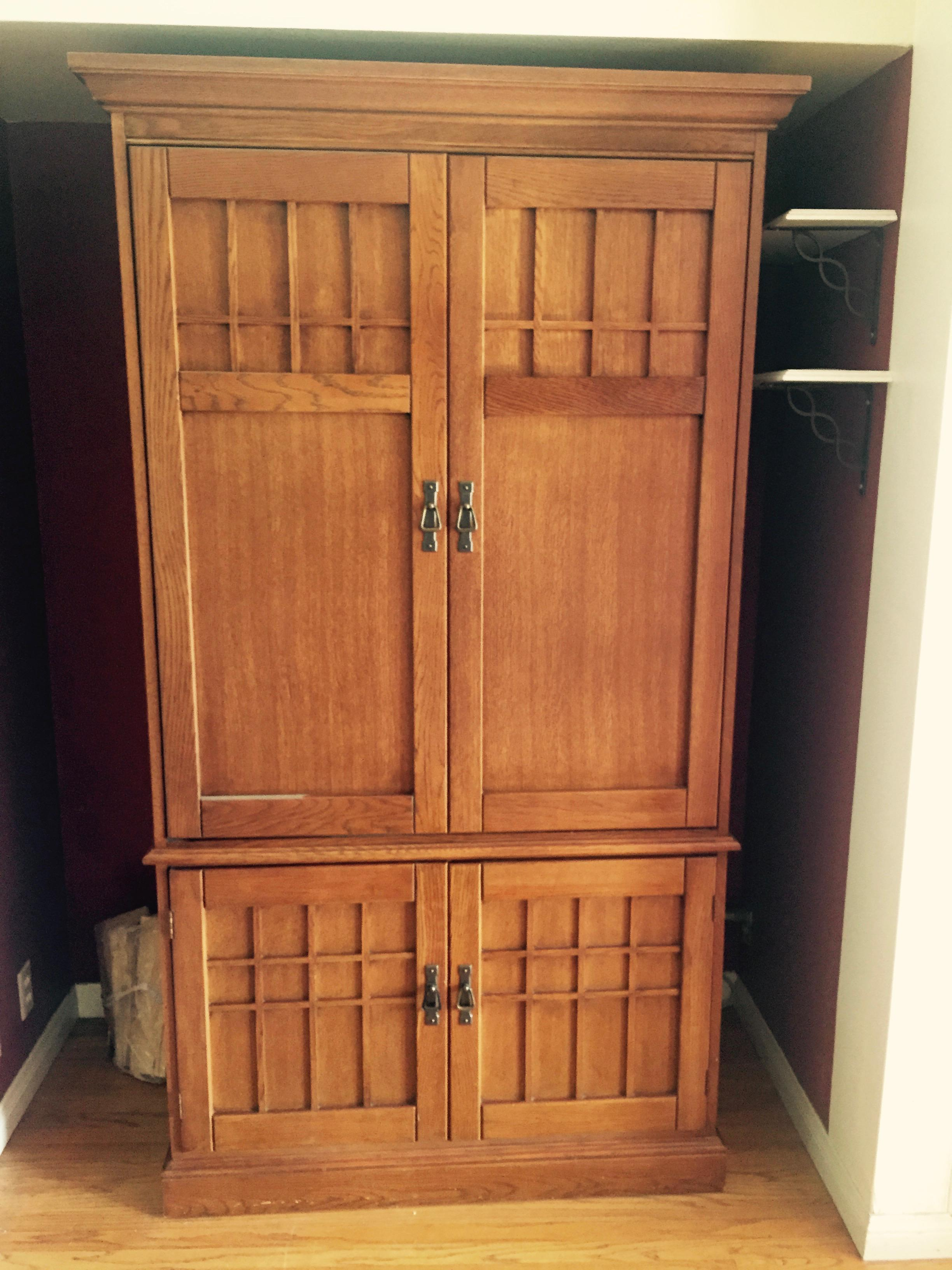 Mission Style Wardrobe/Entertainment Cabinet By Hooker Furniture   Image 2  Of 6