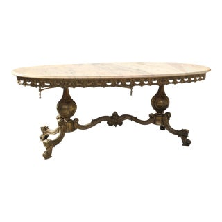 Monumental French Neoclassical Coffee Or Cocktail Table Bronze Oval With Marble Top Circa 1940s