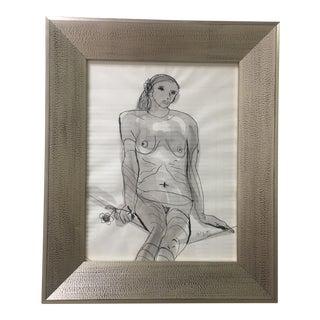 Original Ink & Watercolor Nude Drawing