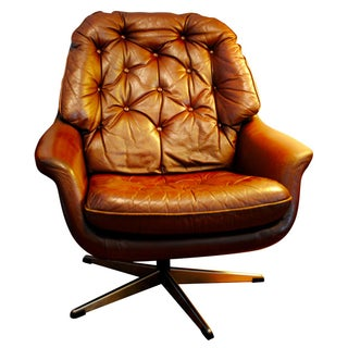 Danish Modern Leather Swivel Chair