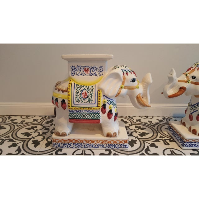 Ceramic Elephant Side Tables - A Pair - Image 3 of 11