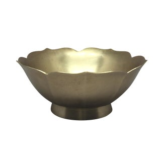 Vintage Solid Brass Lotus Scalloped Bowl