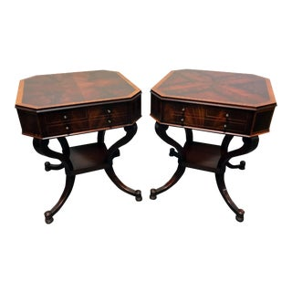 Weiman Inlaid Flame Mahogany 2 Tier End Side Lamp Tables - a Pair