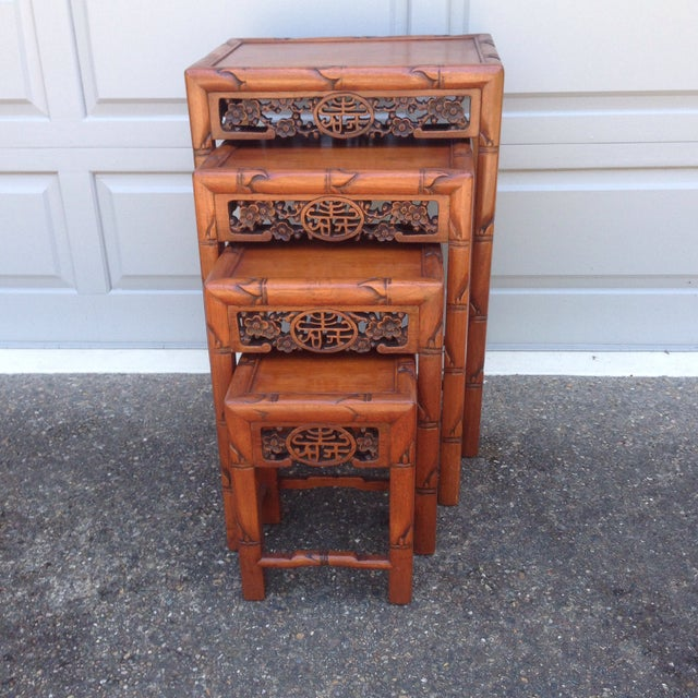 Vintage chinese carved rosewood nesting tables set of