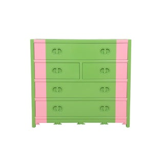 Midcentury Style Green and Pink Chest of Drawers