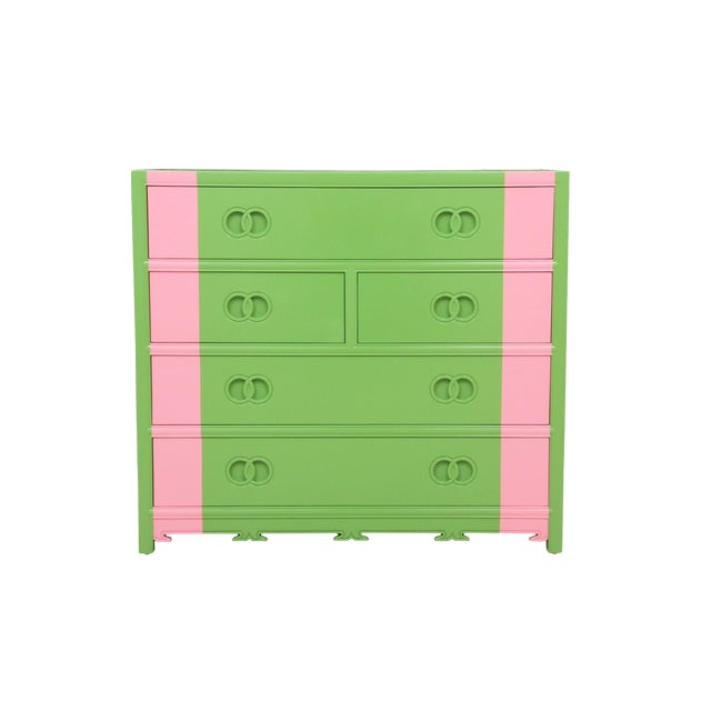 Midcentury Style Green and Pink Chest of Drawers - Image 1 of 7