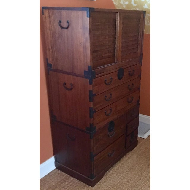 Japanese Style 3 Piece Stacking Tansu Clothing Chest - Image 3 of 11