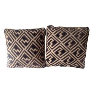 Designer Cut Velvet Pillows in Acorn & Tan