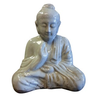 Sitting Buddha Statue with Ivory Finish