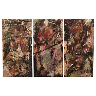 Abstract Triptych Oil Paintings by JJ Justice - Set of 3