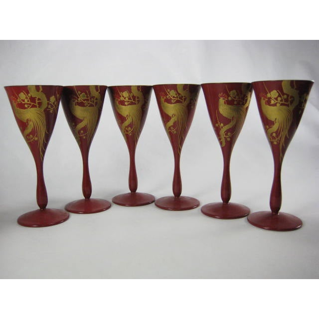 Red Lacquerware Martini Glasses - Set of 6 - Image 2 of 11