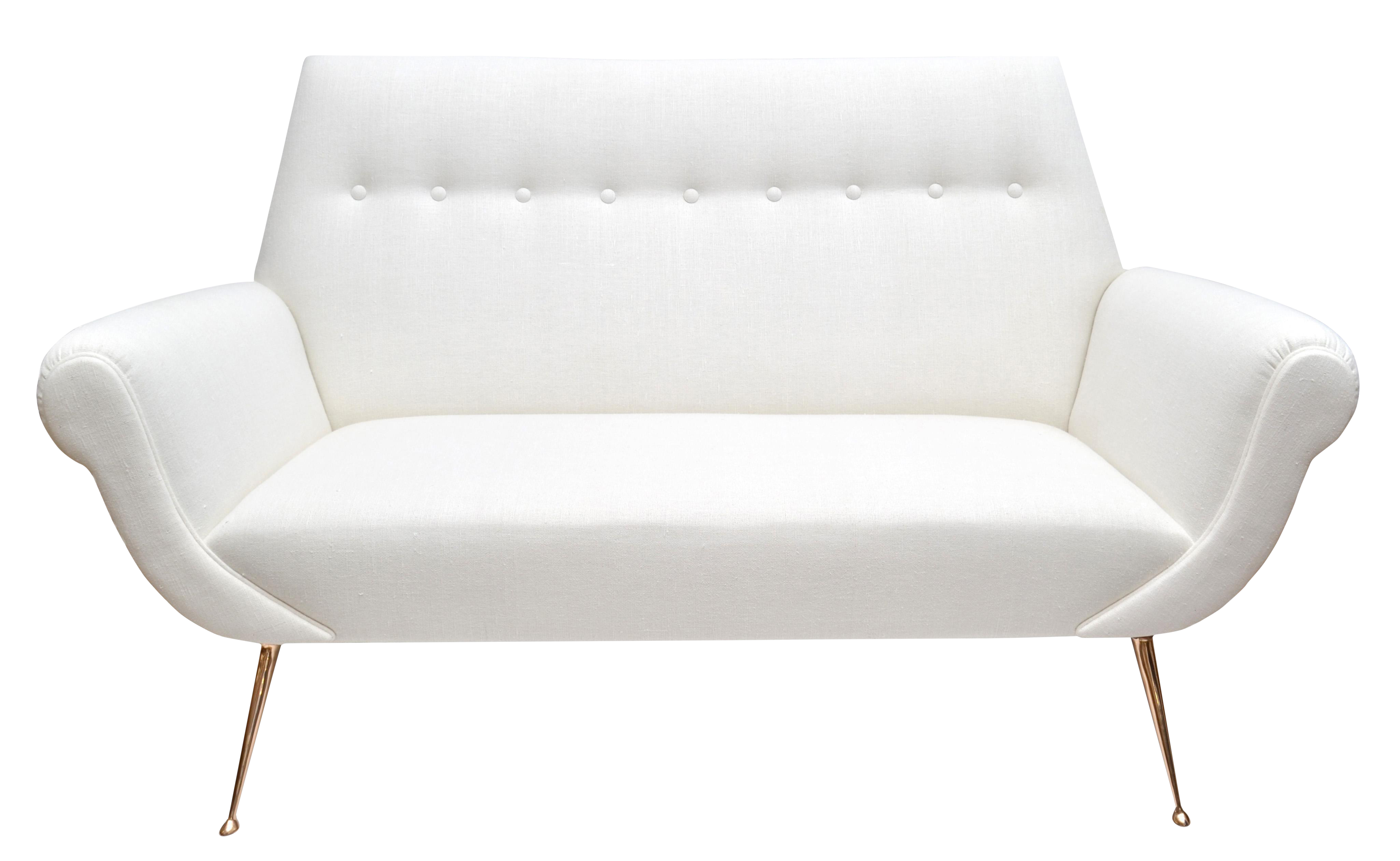 Modern White Couch vintage & used loveseats and settees | chairish