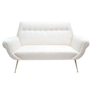 Mid-Century Modern White Sofa by Gigi Radice for Minotti with Solid Brass Legs
