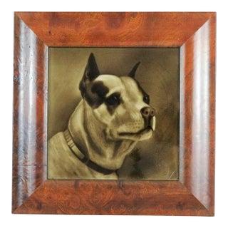 Antique Terrier Dog Painted Tileby G Cartlidge