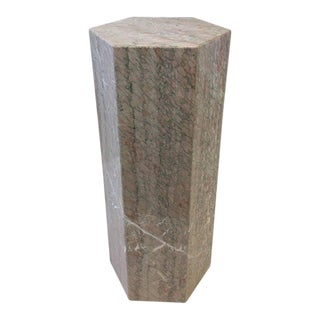 Hexagonal Shape Polished Blush Pink Marble Pedestal