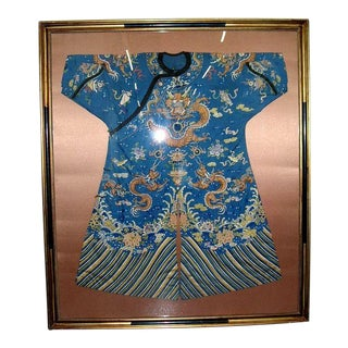 Framed Vintage Chinese Imperial Embroidery Dragon Robe