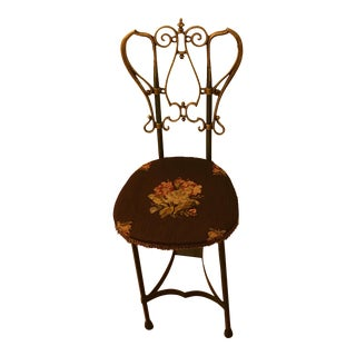 Antique Iron & Tapestry Chair